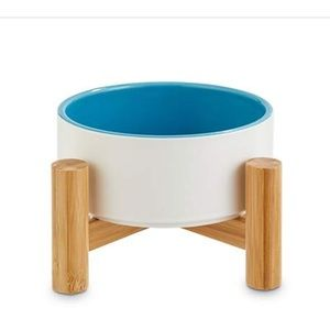 Ceramic and bamboo elevated dog bowl